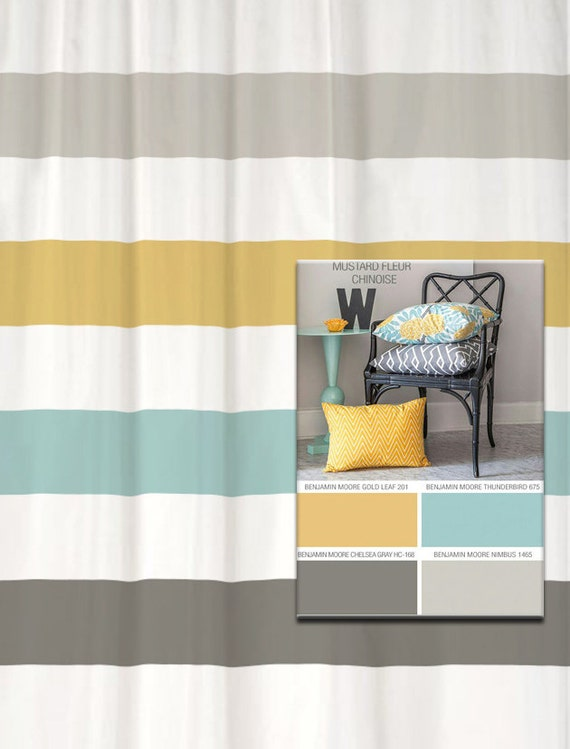 shower curtain in yellow blue gray inspired stripes standard. Black Bedroom Furniture Sets. Home Design Ideas