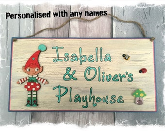 Personalised Outdoor Children's Playhouse or Garden Sign - CREAM WITH PIXIE Design Plaque