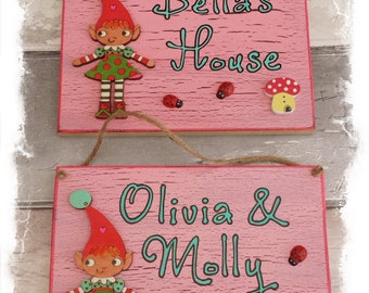 Personalised Outdoor Children's Playhouse or Garden Sign - Gnome or Pixie Design Plaque