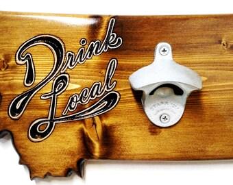 Montana Custom Engraved Wooden Wall-Mounted Bottle Opener