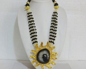 NEW!! Large Statement Pendant Necklace / Beaded Necklace with Onyx Stone Beads