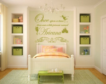Once Upon A Time Fairy Princess Vinyl Wall Decal For Playroom Bedroom.  Vinyl Color And