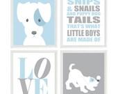 Puppy Nursery Art, Dog Wall Art, Snips And Snails Quote, Love Print, Baby Boy Nursery, Baby Blue, Gray, Dog Nursery Theme, Boy Room, Gift