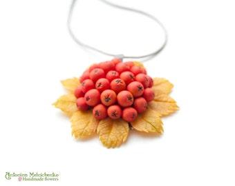 Pendant Rowan Berries Mountain Ash - Polymer Clay Flowers