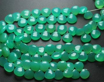 7 Inch Strand,Finest Quality,Chrysoprase Chalcedony Smooth Heart Shape Briolettes,11-12mm size