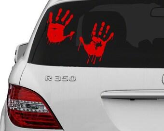 Vinyl Wall Decal Red Bloody Hands Design / Blood Vampire Hand Art Decor Sticker / Funny Walking Dead Car Decals + Free Random Decal Gift!