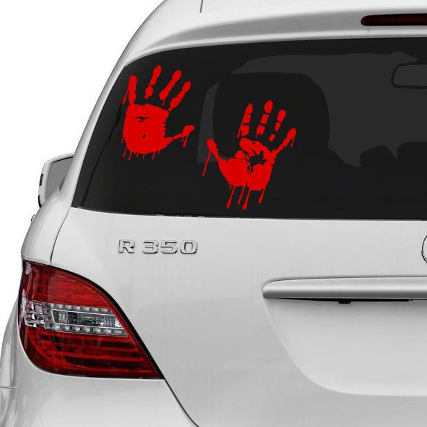 Vinyl Wall Decal Red Bloody Hands Design Blood Vampire Hand - Cool car decals designcar decal sticker square chain design car design