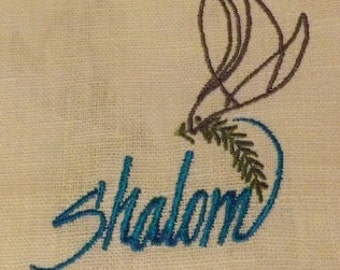 """355 Shalom Aleichem """"Peace be to you"""" 100% Linen White with Sea Blue Ribbon and Embroidered Prayer Shawl"""