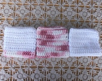 Set of 3 Handmade 100% Cotton Crochet Dish Cloths, Dish Rags, Wash Cloths,  Pinks and White