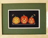 Halloween Cross Stitch Instant Download PDF Pattern Halloween Pumpkin Trio Counted Embroidery Design Whimsical Autumn Fall October X Stitch