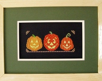 SALE! Halloween Cross Stitch Instant Download PDF Pattern Pumpkin Trio Counted Embroidery Design Whimsical Autumn Fall October X Stitch