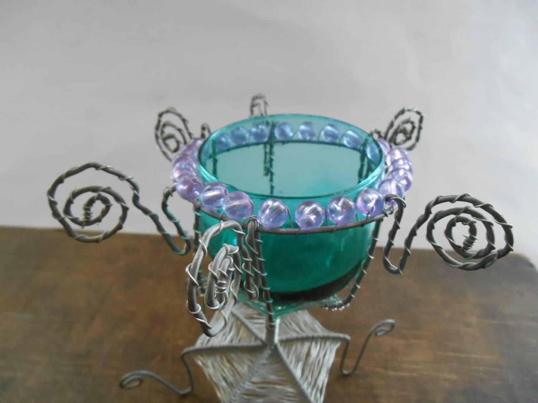 Vintage candle holder Handmade wire tea light holder with aqua blue ...
