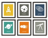 Astronomy Art, Outer Space, Space Nursery, Rocket Art, Astronomy Decor, Boys Room Decor, Children Wall Art, Art for Kids Room - set of 6