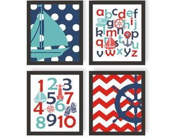 Nautical Nursery Art Set of 4 - CHOOSE IMAGES & COLORS - Ocean animals, Number Art, Sea Nursery, Alphabet Art, Nautical Baby Decor, Playroom