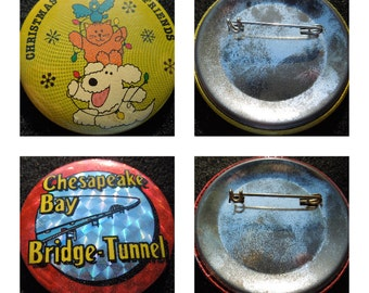 Vintage Pin Backs, Badges, Priced Individually, 2 1/4 Inches Diameter