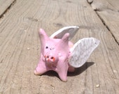 Flying Pig - Cute Stoneware Clay Sculpture