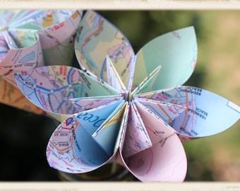 Map paper flower