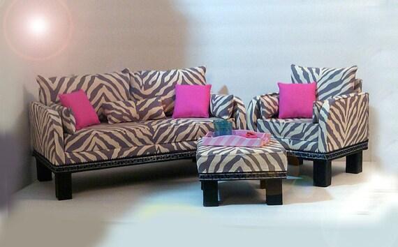 American girl doll zebra living room set