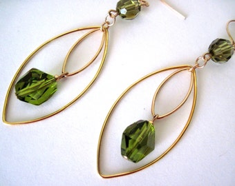 Gold and olive earrings