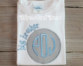 Big Brother Tshirt, Tee or Bodysuit, Personalized Big Brother Applique