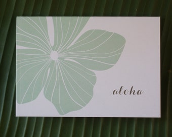 Aloha or Mahalo Hibiscus Note Cards in Mint or Coral color- Set of 6