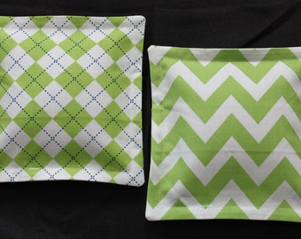 100% Flaxseed Boo Boo Pack Set ... Chevron ... Argyle ... Lime Green ... Unscented Washable Reusable Hot Cold Packs for Kids
