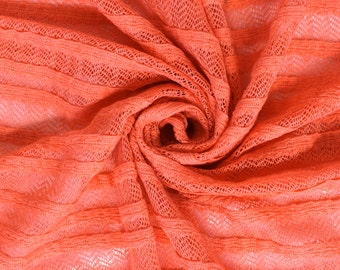 Coral Sitil Ruffle Sweater Knit Fabric by the yard - 1 Yard Style 6484