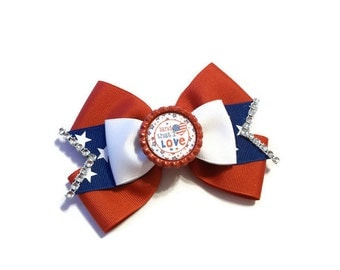 "Layered ""Land that I Love"" Boutique Bow with Rhinestone Trim- Patriotic Stacked Bow-Fourth of July Boutique Bow- Bow (4 1/2 inches Wide)"