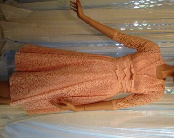 Vintage Pink Lace Overlay Dress with Matching Sheer Lace Shrug Jacket, Junior Theme, ca 1950s