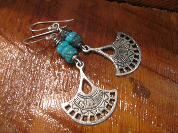 Genuine Turquoise & Sterling Silver Earrings,Hand Forged, Hand Cut, Mixed Metal, Mixed Media Earrings Boho Chic Tribal Toniraecreations