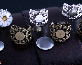 5- Antique Bronze or Silver Victorian Filigree Ring Bases - 8mm Pad Adjustable backs.