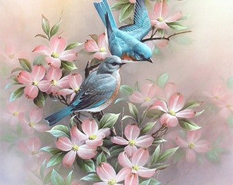 Blue Bird Art Print of Watercolor Painting, Dogwood Flowers