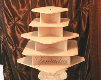 Cupcake Stand 5 Tier Square MDF Wood Threaded Rod and Freestanding Style 100 Cupcake Tower Wedding Stand Birthday Stand DIY Project