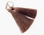 Long Bitter Chocolate Brown Silk Thread Tassels -  3 inches - 77mm  - 2 pc