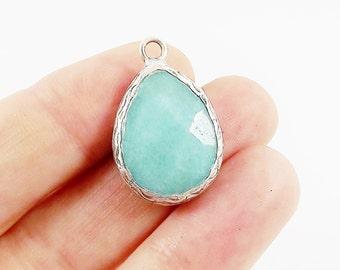 Aqua Teardrop Jade Pendant  - Matte Antique Silver Plated - 1pc