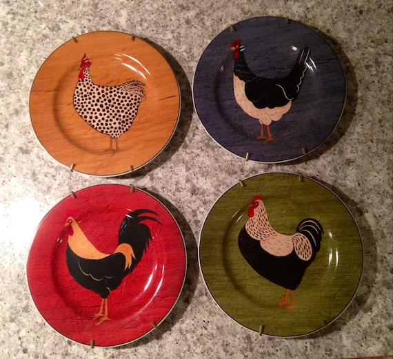 Decorative Wall Plates Set Of 4 : Set of chicken plates wall decor