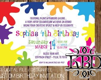Art Party Themed Custom Birthday Invitation - 4x6 Digital File Design Fee