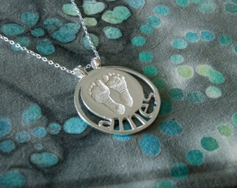 Custom Loss Memorial Baby Actual Footprints Sterling Silver Pendant Mommy Daddy Necklace With Child Name