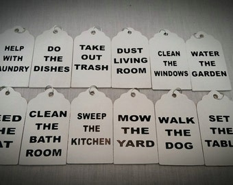 Chore Board Tags, Kids Chore Chart, Chore Boards, Family Chores, Gift Tags, Chores, Family Names