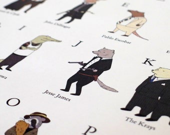 Gangsters A to Z print - A3