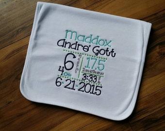 Birth Stats Announcement.. Burp cloth.. baby shower gift.. burpie.. spit up rag..