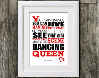Abba Dancing queen . 8x10 picture mount & Print Typography song music lyric for self framing