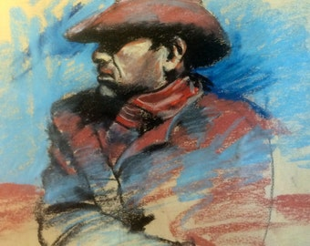 Original Art Cowboy Ranch hand Farmer Country Western Themed Original Pastel Signed Art Framed Wall Art Portrait Western Art Marlboro Man