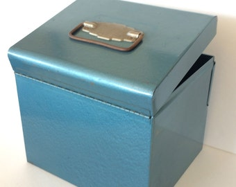 Industrial Blue Metal Box Container Mid-Century Box 1950s Blue Metal Box Industrial Storage Cabinet Jewelry Box Handled Portable Storage Box
