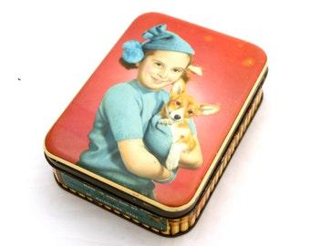 Vintage Sharps Toffee Tin, Sharps Dog Tin, 1940s Tin, Retro Tin, Edward Sharp & Son Tin, Vintage Tin Box, English Toffee Tin, Sweet Tin,