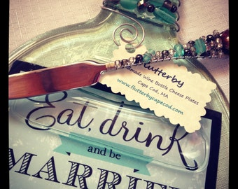 Wedding Invitation Wine Bottle Cheese Plate Set