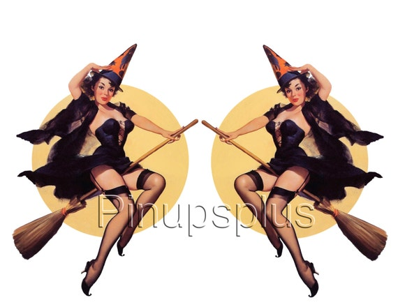 Pinup Girl Waterslide Decals Sexy Witches on Broom against the moon No. 76