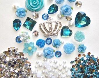 Sale -- DIY 3D Crown Lake Blue Flowers Kawaii Resin Flat back Decoden Cabochons Deco Kit