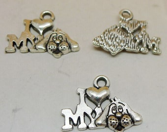 25pcs I love my dog Charms, 13x18mm Antique Silver Tone I love my dog Charms Pendant, Dog Charms, Animal Charms