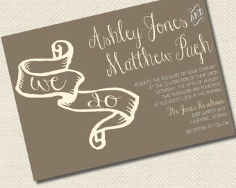 """Contemporary """"We Do"""" Bridal Invitations (file only, printing available)"""